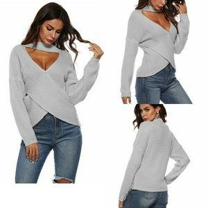 Irregular Cross Pattern V Neck Long Sleeve Sweater